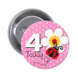 Ladybug girls birthday 4 today pink button