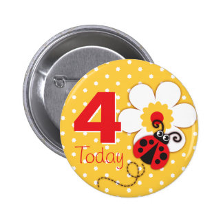 Ladybug girls birthday 4 today yellow button