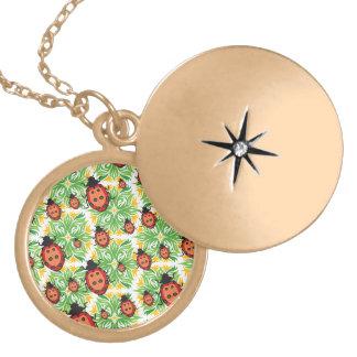 ladybug green background locket