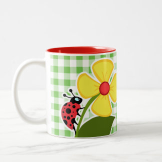 Ladybug; Green Checkered; Gingham Two-Tone Coffee Mug