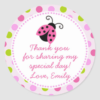 Ladybug Green Pink Gift Favor Label
