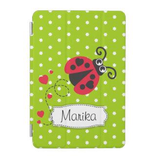 Ladybug green red polka flower art name ipad cover