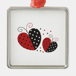 Ladybug Heart cute Silver-Colored Square Decoration