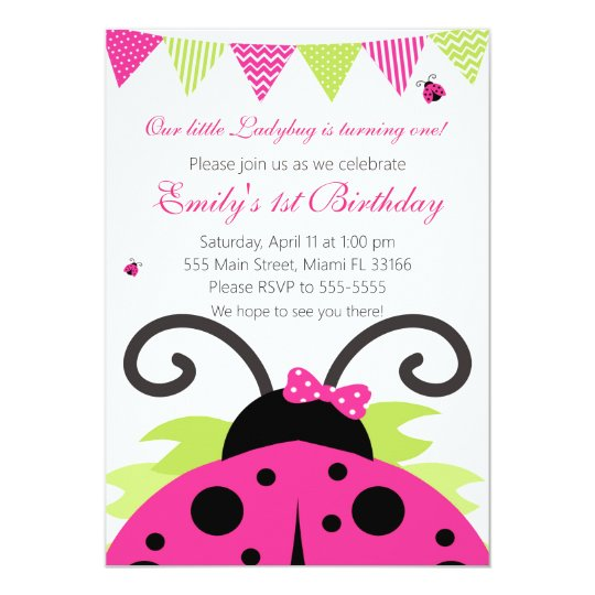 Ladybug Hot Pink Kids Birthday Party Invitation