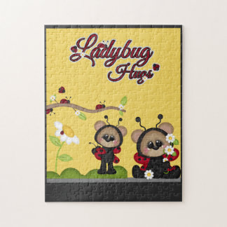 Ladybug Hugs Bear Red Black Cute Flowers Yellow Jigsaw Puzzle
