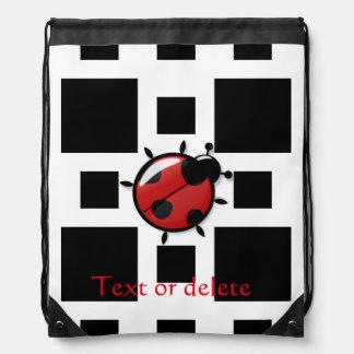 ladybug illustration drawstring bag