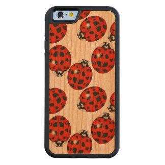Ladybug Illustration Pattern on Wood Phone Case