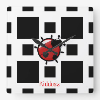 ladybug illustration square wall clock