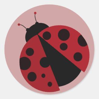 ladybug image round sticker