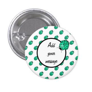 Ladybug in teal blue-green 3 cm round badge