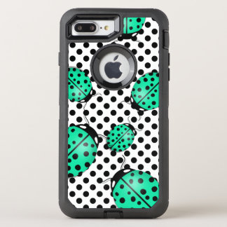 Ladybug in teal blue-green OtterBox defender iPhone 8 plus/7 plus case
