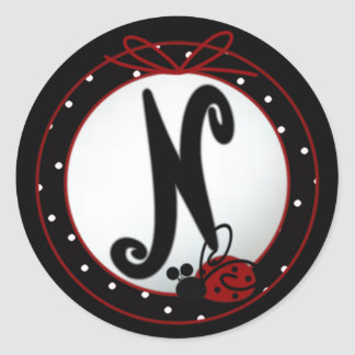 Ladybug Initial N Round Stickers