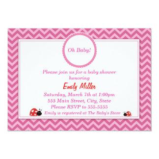 Ladybug Invitation Baby Girl Shower Pink Red