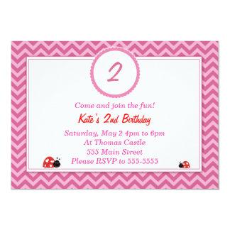 Ladybug Invitation Girl Birthday Party Chevron