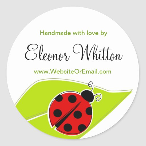 Ladybug Labels for Handmade items Round Stickers