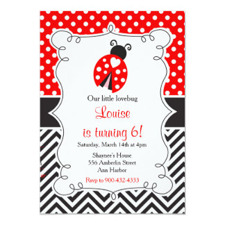 Ladybug Ladybird Birthday Party 13 Cm X 18 Cm Invitation Card
