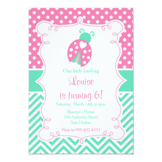 Ladybug Ladybird Birthday Party Card
