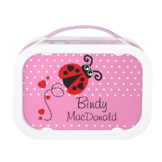 Ladybug / ladybird heart red girls name lunch box