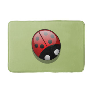 Ladybug (Ladybird, Lady Beetle) with Dots - Red Bath Mat
