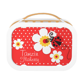 Ladybug / ladybird orange kids named lunch box