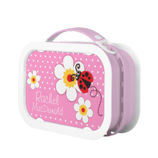 Ladybug / ladybird pink girls kids named lunch box