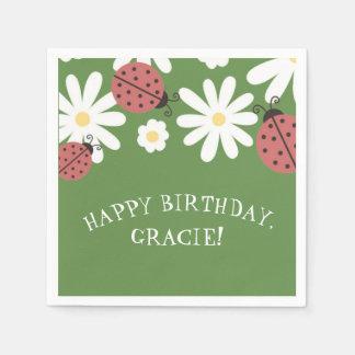 Ladybug Little Girl's Moss Green Birthday Party Paper Napkins
