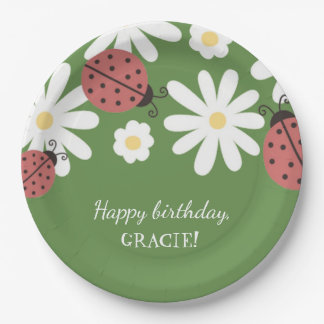 Ladybug Little Girl's Moss Green Birthday Party Paper Plate