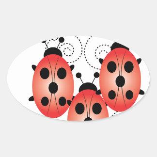 Ladybug Love Oval Sticker