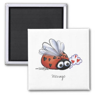 Ladybug lovebug square magnet