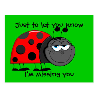 Ladybug Missing You Postcard