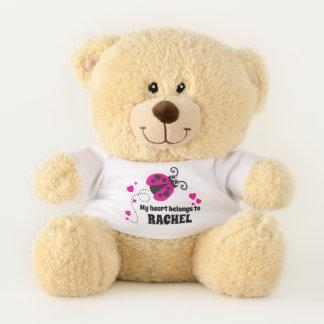 Ladybug my heart belongs name personalized teddy teddy bear