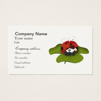 Ladybug on a green leaf business card