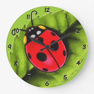 Ladybug on a Leaf Large Clock
