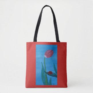 Ladybug on a Leaf with a Tulip Tote Bag