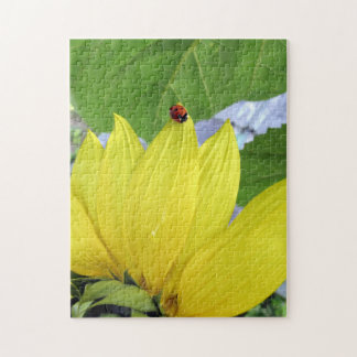 ladybug on a sunflower jigsaw puzzle