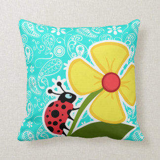Ladybug on Aqua Color Paisley; Floral Cushion