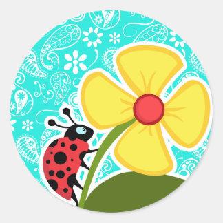 Ladybug on Aqua Color Paisley; Floral Round Sticker
