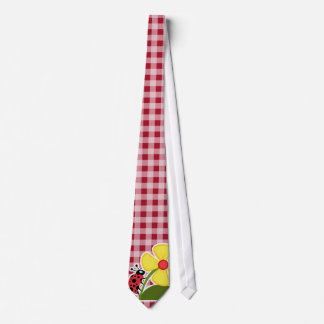 Ladybug on Carmine Red Gingham Tie