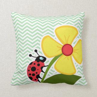 Ladybug on Celadon Chevron Throw Cushion