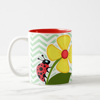 Ladybug on Celadon Chevron Two-Tone Mug
