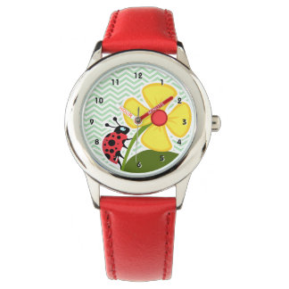 Ladybug on Celadon Chevron Wristwatch