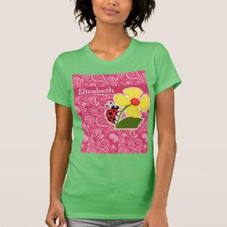 Ladybug on Cerise Paisley; Floral T-shirt