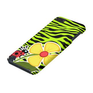 Ladybug on Chartreuse Zebra Stripes Animal Print iPod Touch 5G Cases