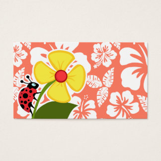 Ladybug on Coral Color Tropical Hibiscus Business Card
