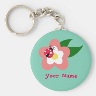 Ladybug on flower keychain