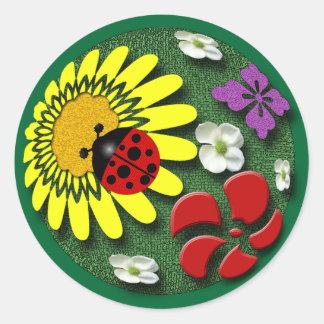 Ladybug on Garden Ball Round Sticker
