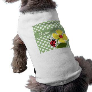 Ladybug on Laurel Green Polka Dots Sleeveless Dog Shirt