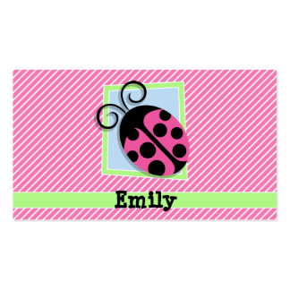 Ladybug on Pink & White Stripes Pack Of Standard Business Cards