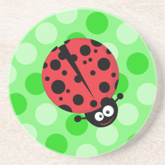 Ladybug on Polka Dots Beverage Coasters