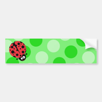 Ladybug on Polka Dots Bumper Sticker